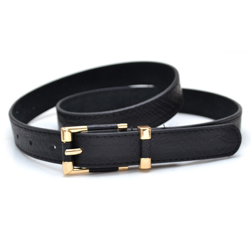 Fashion Crocodile Grain Waist Belt Punk Thin Belts For Women High Quality Carved Genuine Leather Stap Buckle Ceinture Feminino