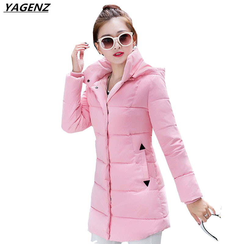 Lady Hooded Cotton Jacket Winter Coat Slim Large Size Down Cotton Clothing Casual Medium Long Outerwear Women Basic Coat YAGENZ winter women down jacket hooded thick warm cotton coat large size new style casual jacket slim long sleeve medium long coat 2580