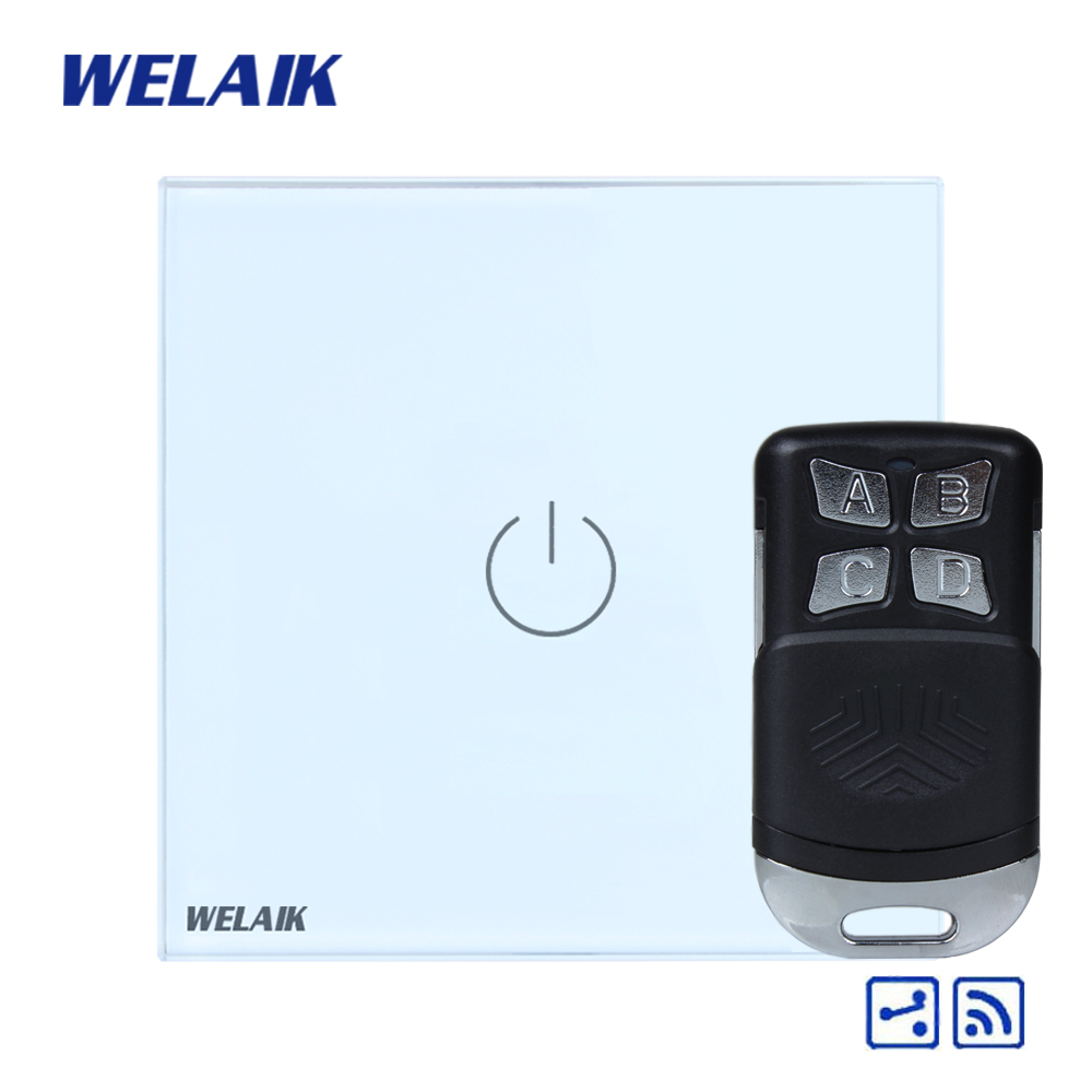 WELAIK Glass Panel Switch White Wall Switch EU remote control Touch Switch Screen Light Switch 1gang2way AC110~250V A1914W/BR01 welaik glass panel switch white wall switch eu remote control touch switch screen light switch 1gang2way ac110 250v a1914w br01