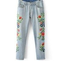 2017 Hot Moda Dna Panie Haftowane Spodnie Jeansowe Spodnie Jeansowe W Połowie Pasa Vintage Washed Bleached Żeńskie Proste Spodnie
