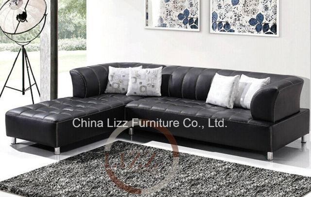 Thailand Black Sectional Sofas L P5516 Leather Sofa