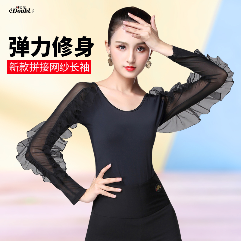 Latin Dance Costumse Sexy Ice Silk Latin Dance Tops For Women Latin Dancing Jacket National Standard Dance Wear S-3XL