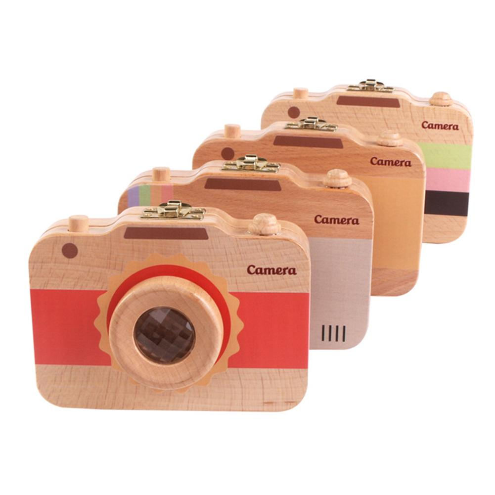 Fashion Baby Tooth Keepsake Box Camera Shaped Wooden Container Storage Teeth House Gift