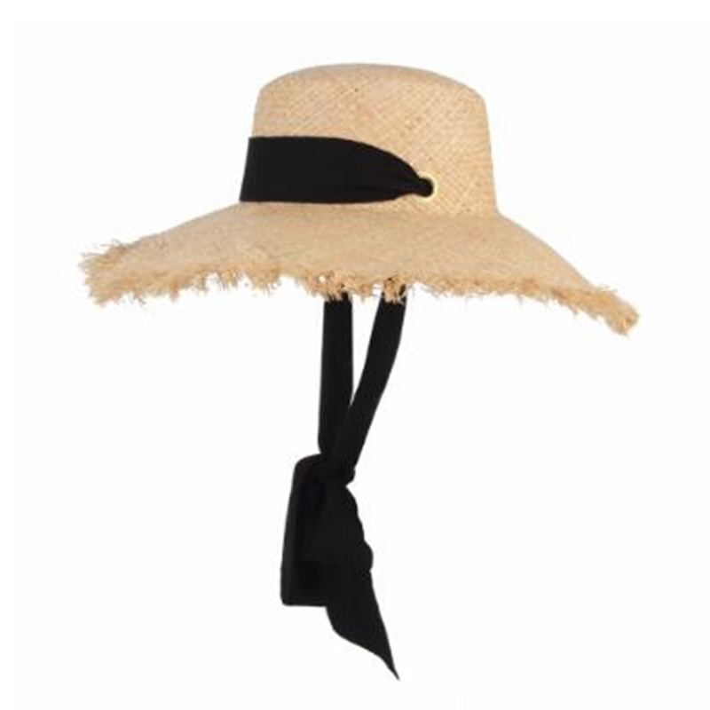 d43f8cd3cdcf29 New Handmade Raffia Sun Hat For Women Black Ribbon Tie Large Brim Summer  Straw Hat Summer