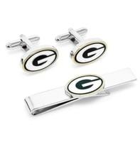 CF0762 Green Bay Packers 3 Piece Gift Set Cufflinks Tie Bar Money Clip Wallet For Men