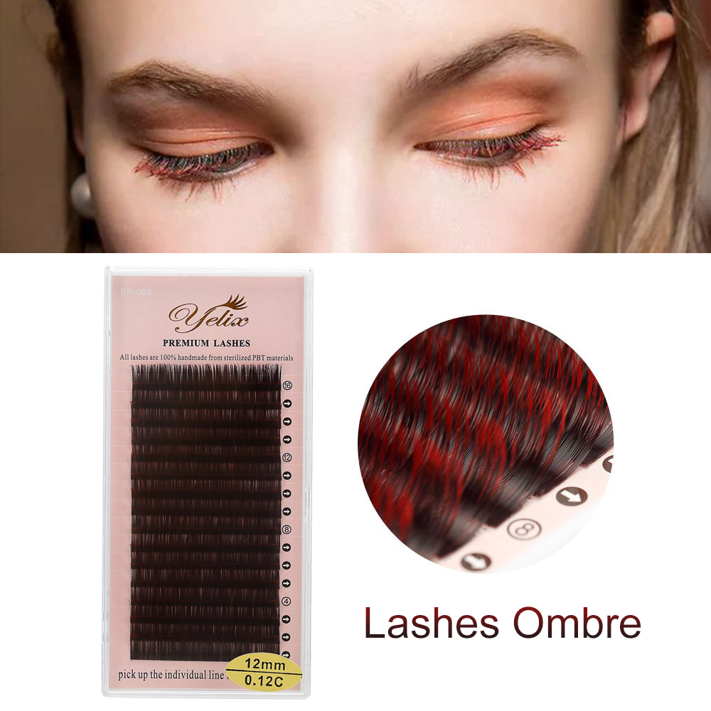 Yelix Ombre False Lashes Color Red+Black Eyelash Individual Natural Soft Faux Eyelash Extensions Lash Makeup Cilio For Building