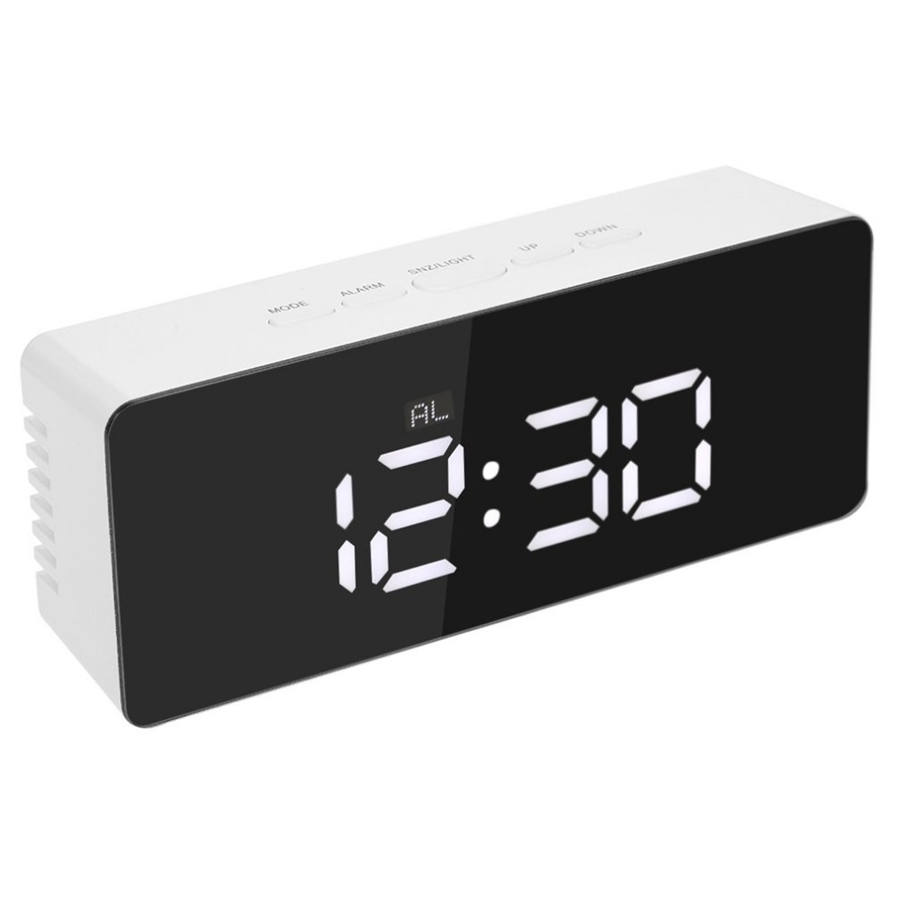 USB Charging Led Digital Alarm Clock Night Light Temperature Display Mirror Thermometer Digital Clocks Touch Sensing Table Lamp