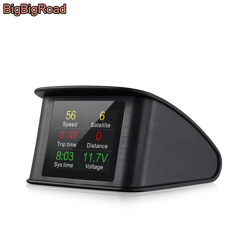 BigBigRoad Car Hud OBDII 2 Computer Windscreen Projector Head Up Display For Toyota Highlander Kluger Vios Yaris Prius Corolla bigbigroad car obdii 2 hud head up display windscreen projector for mitsubishi asx mirage triton outlander montero lancer