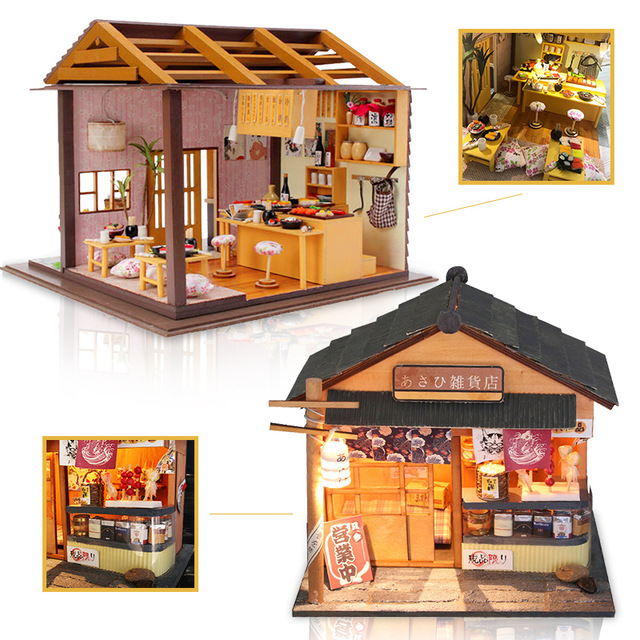 Miniature Furniture Dollhouse DIY Doll House 3D Wooden Handmade Model Thanksgiving Gift For Children Japanese Sakura Sushi #D-in Doll Houses from Toys & Hobbies