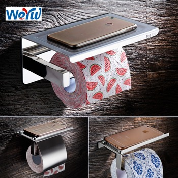 Paper Towel Holder Stainless Steel Toilet Paper Holder with Shelf Phone Storage Wall Mount Creative Bathroom Roll Holder chrome toilet paper holder wall mount storage basket