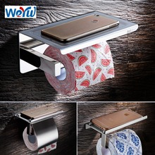 WEYUU Stainless steel  Wall Mount Toilet Paper Holders Bathroom Accessories Mobile Phone Holder