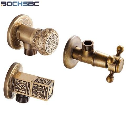Acabamento de Ouro de Cobre Válvulas de Enchimento Lote Estilo Europeu Antique Brass Banho Ângulo Parar Válvula Esculpido 3 Pçs –