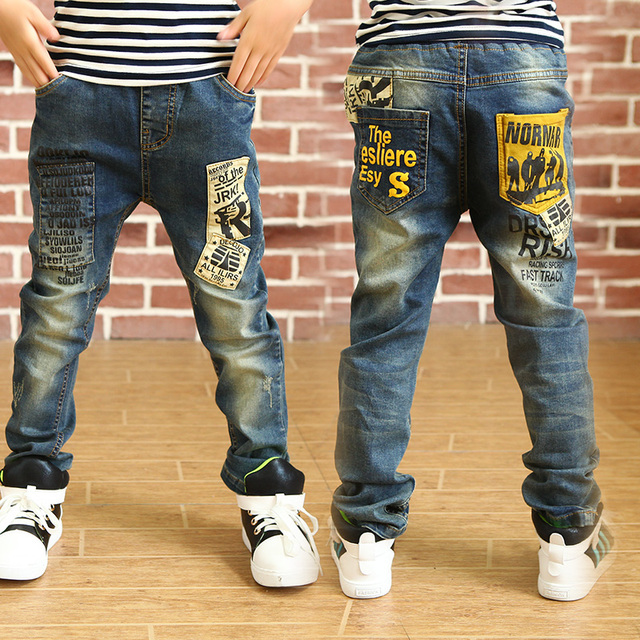 32fe09fd6 Newest Jeans for Boy kids 3-14T Free shipping 2017 fashion style pocket  patchwork print good quality children trousers Pants 080