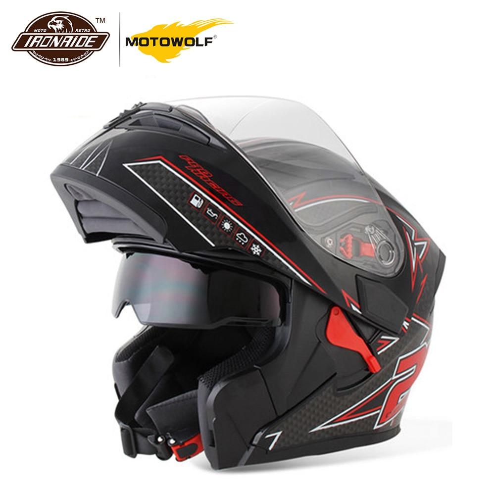MOTOWALF Motorcycle Helmet Casco Moto Filp Up Motorbike Capacete Double Visor Full Face Racing Motocross Helmet for Men
