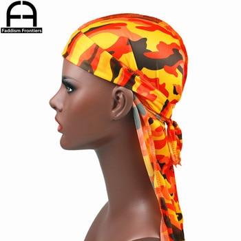 Fashion Camo Men's Silky Durags Turban Print Men Silk Durag Headwear Bandans Headband Hair Accessories Pirate Hat Waves Rags 4