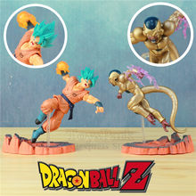 NEW Dragon Ball Son Goku Deus VS Golden Conjunto Luta 14 centímetros Action Figure Dragonball Z DBZ Frieza Super GT saiyan Estátua Boneca Brinquedos(China)