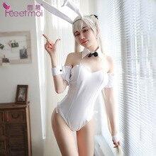 Sıcak Tatlı Bunny Kız Tavşan Kostüm Seksi Bunny Kostüm Korse Romper Bodysuit Cadılar Bayramı Cosplay süslü elbise seksi kostüm