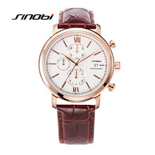 SINOBI Chronograph Function Mens Watches Genuine Leather Luxury Mens Brand Military Wristwatches Reloj Relogio Masculino K77