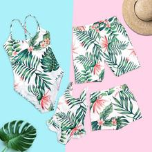 family matching swimwear tropical leaf print mommy and me swimsuits dad son swimming trunks mother daughter clothes