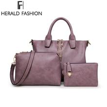 3 Pcs Set Fashion Women Handbags Brand Composite Bag For Women Messenger Bags Female Purse Solid