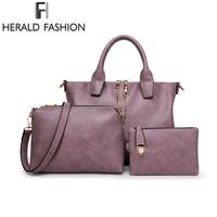 3 Pcs Set Vintage Hangbags Women Messenger Bags Female Purse Soild Shoulder Bags Office Lady Casual