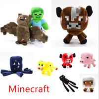 Hot Sale 9pcs/lot Minecraft Plush Toy Brinquedos Game Toys Cheapest Sale Pig Enderman Sheep Spider Plush Toys Cartoon Game Toys