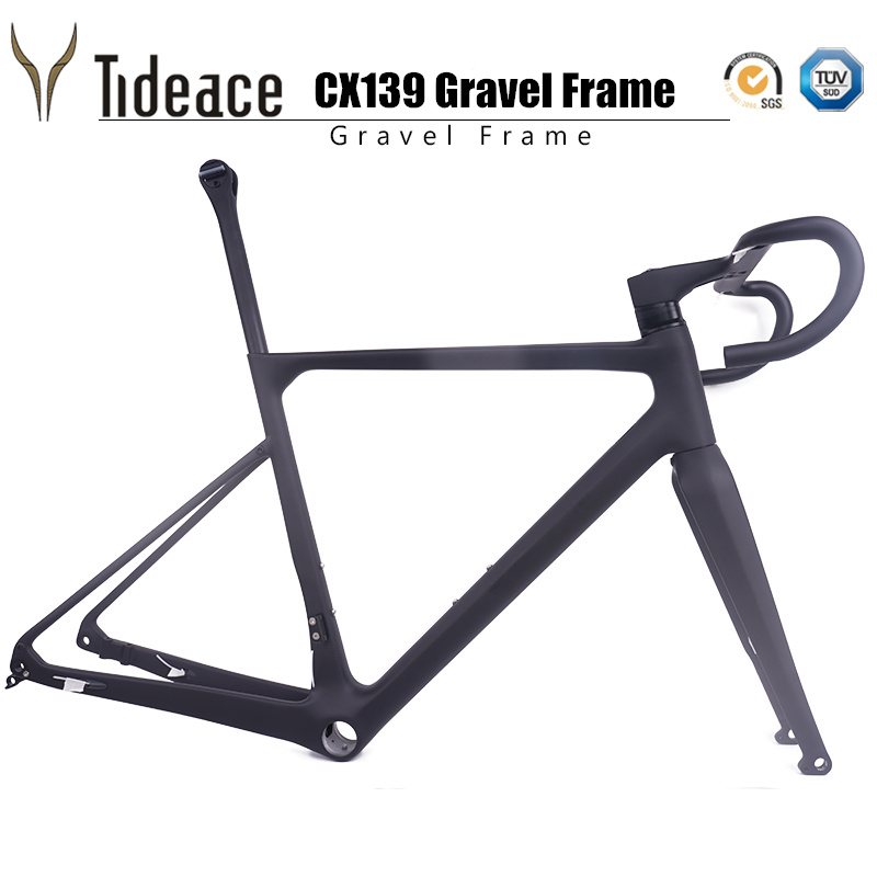 Updated Flat Mount T1000 Carbon Fiber Grave Racing Bike Frame Cyclocross Bicycle Frameset Including Handlebar Stem