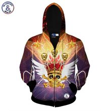 2017 Mr.1991INC Zipper jacket men/women 3d hoodies print skulls crown hooded hoody sweatshirts Asia size S-XXL