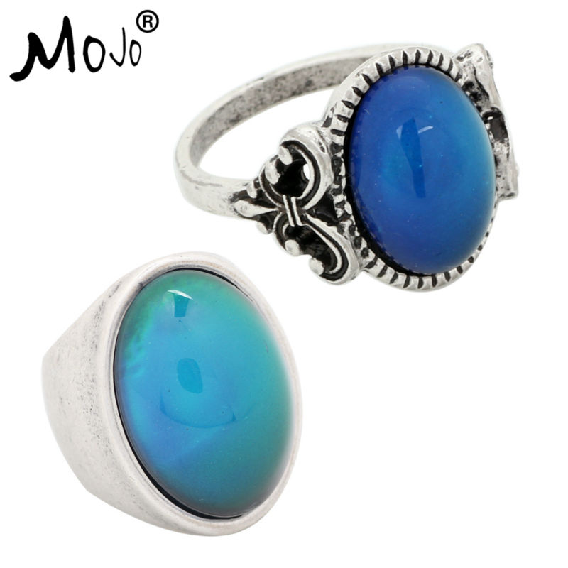 2PCS Antique Silver Plated Color Changing Mood Rings Changing Color Temperature Emotion Feeling Rings Set For Women/Men 008-024