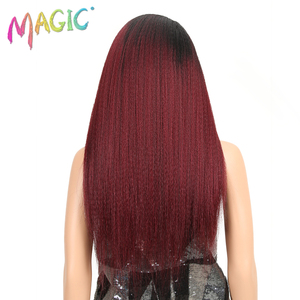 Image 4 - MAGIC Hair Synthetic Wigs For Black Women 28 Inch 70CM Heat Resistant Fiber Hair Long Ombre Brown Yaki Straight Lace Front Wig