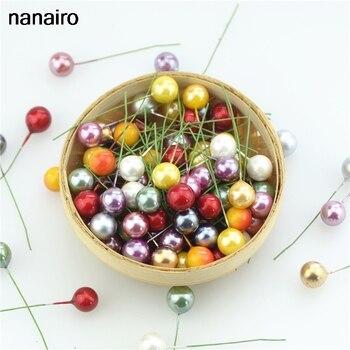 200 шт. супер жемчужный пластиковый бисер, искусственный цветок, маленькая ягода, вишня для свадьбы, Рождественская коробка для торта, декора...