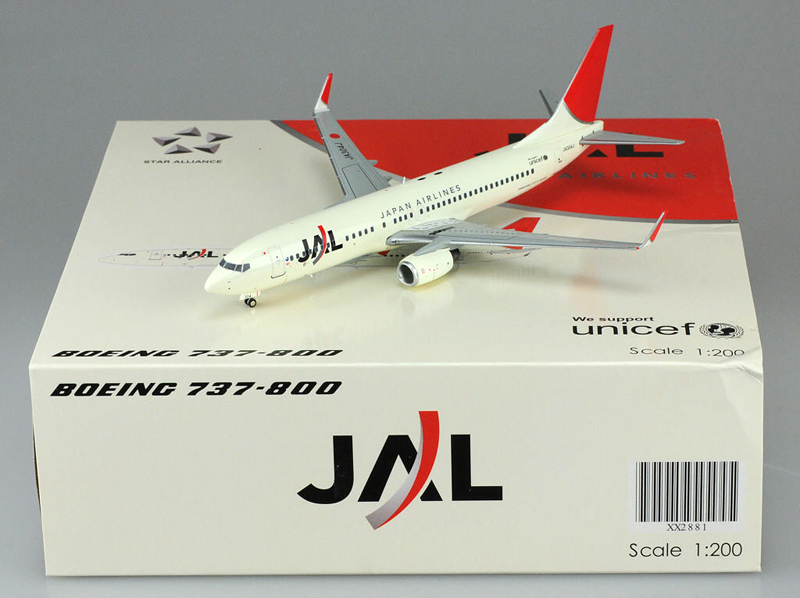 Cheap J W 1/200 JAL Japan Airlines Boeing B737-800 aircraft model alloy XX2881 Favorites Model