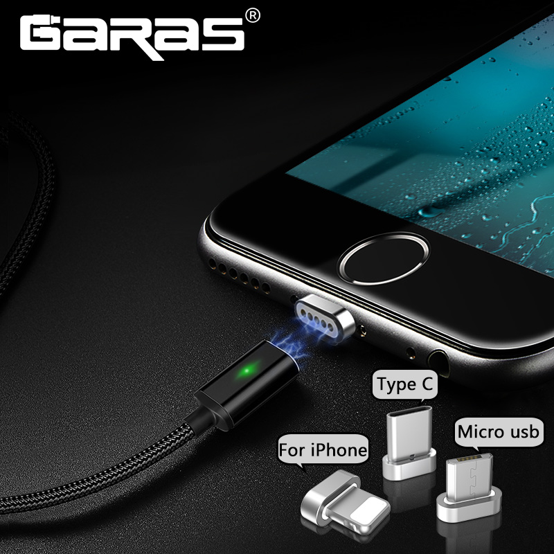 GARAS Magnetic <font><b>Cable</b></font> For <font><b>iphone</b></font>/Micro USB/Type C Charger Adapter Plug For <font><b>Iphone</b></font> Magnet Fast Charging Mobile Phone <font><b>Cables</b></font> 2m image