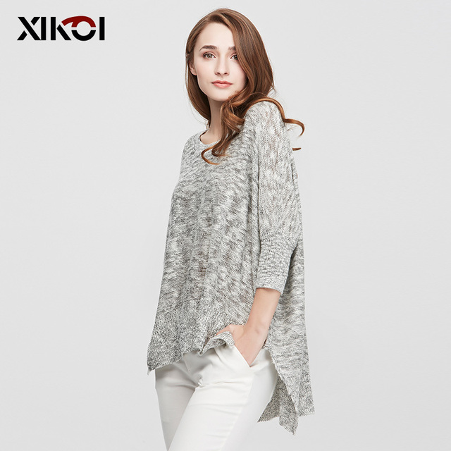 XIKOI Sweaters Women Pullovers Casual Fashion Ladies Clothing Batwing Sleeve O-Neck Flat Knitted Woman Sweater Clothes