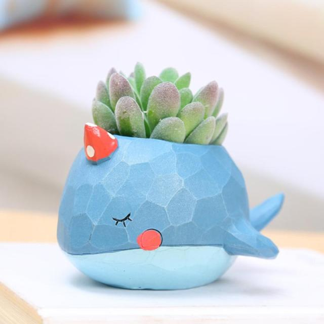 Creative Style Lovely Whale Flower Pot 2