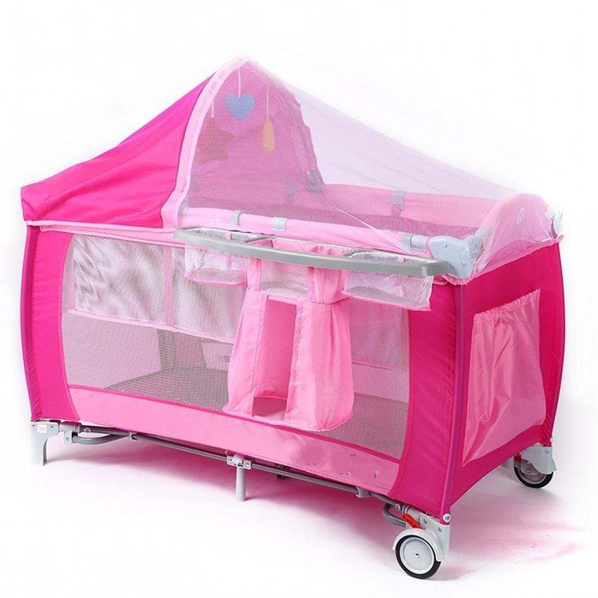 New Style Multifunctional Infant Baby Crib With Mosquito Nets Portable Folding Baby Trolley Cribs
