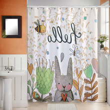 Cartoon Shower Curtain Bath Curtains Bathroom Bathtub Waterproof 100% Polyester Bathing Cover Extra Large Wide With 12pcs Hooks