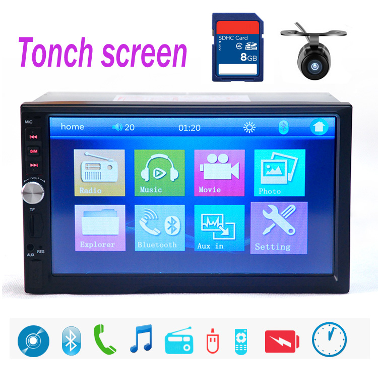 Фотография 10 languages 7018B 2 DIN 7 inch Car Stereo MP5 Radio Player steering wheel control Touch Screen Bluetooth MP4 Player FM/TF/USB