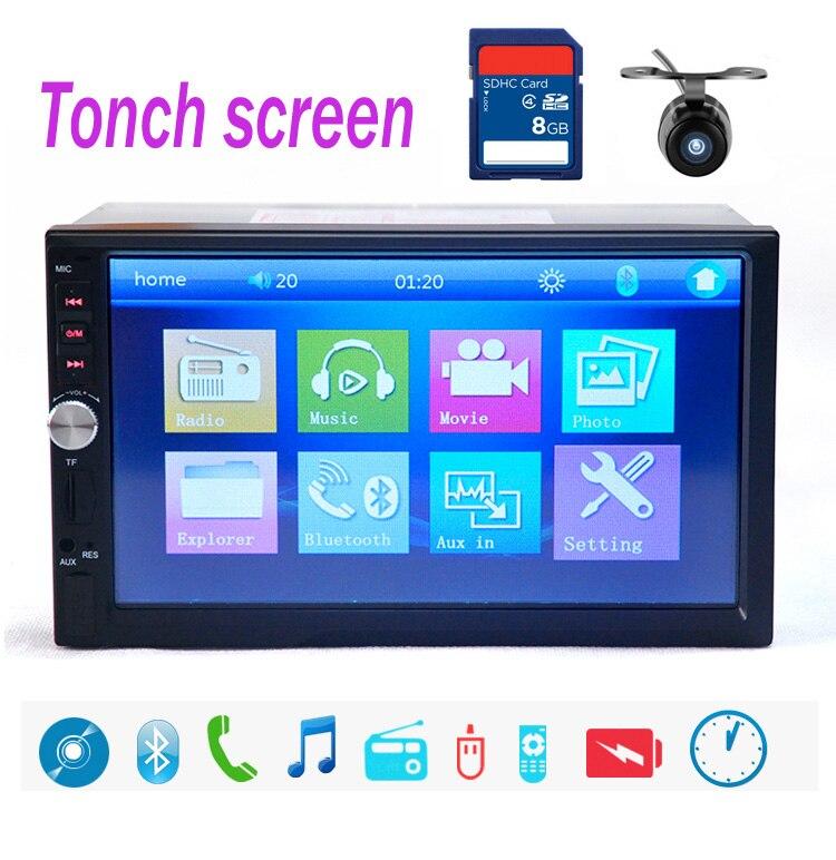 10 langues 7018B 2 DIN 7 pouces autoradio MP5 lecteur Radio commande au volant écran tactile Bluetooth MP4 lecteur FM/TF/USB