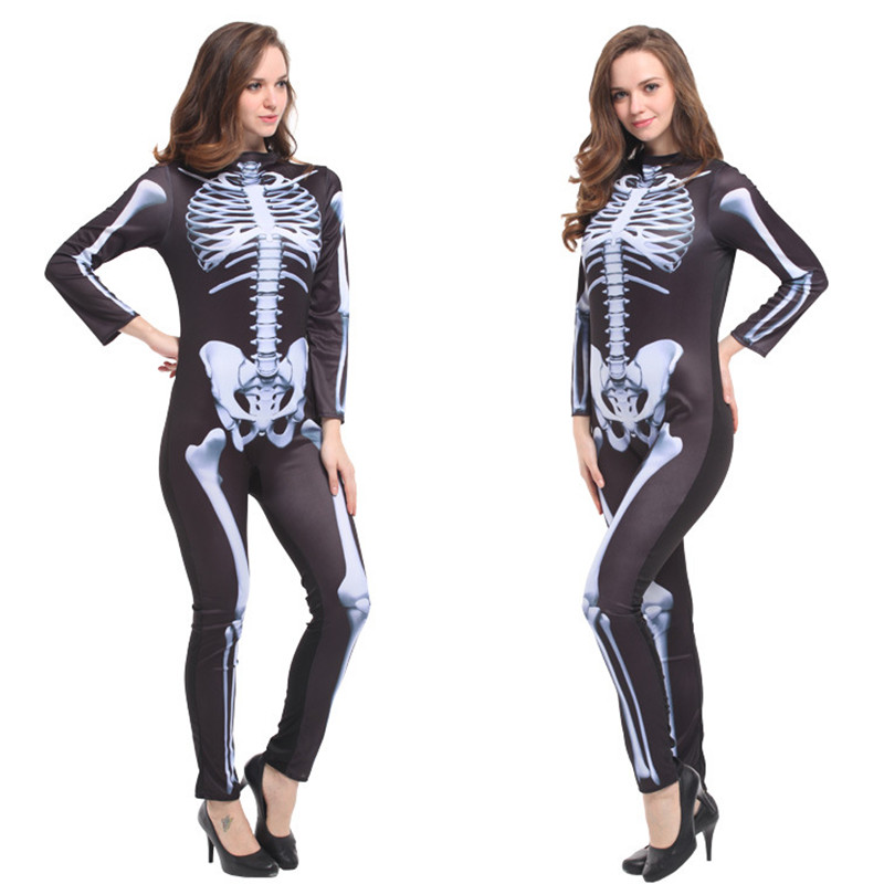 Scary Skeleton devil Costumes Woman Halloween Sexy tight Pole dancing Cosplay Easter Carnival Nightclub Masquerade party dress