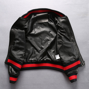 Image 2 - 2017ファッション本革ジャケットレディー黒シープスキンリアルレザーコートembroidereyスリムフィット女性野球衣類