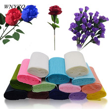250*10cm/roll Wedding Flower Gift Wrapping Crepe Paper Multicolor Material DIY Crinkled For Party Supplies