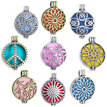 1pc Hollow Vintage Antique Photo Aromatherapy Locket Essential Oil Diffuser Necklace Locket Sunflower Pendants For DIY Jewelry все цены