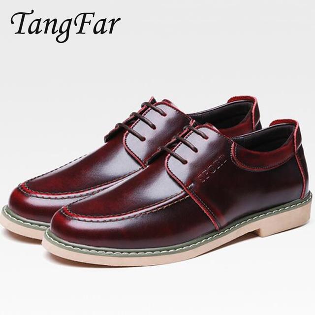 5f4708d50b Homens Do Vintage Sapatos Casuais Sapatos Masculinos Oxford Homem de Couro  Bronze Retro Apartamentos Respirável Sapatos
