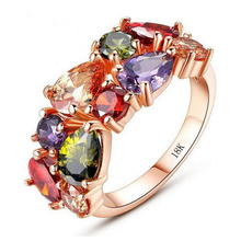 Rose Gold 585 Plated Bague Femme Colored Zircon Jewelry Rings For Women Anel Vintage Anillos Mujer Bijoux Aneis Aros QQ211