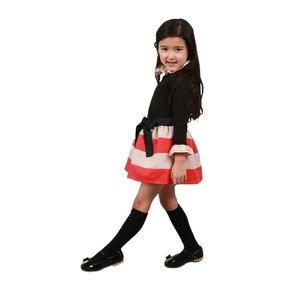 Image 5 - TANGUOANT תינוק בנות שמלת נסיכה חמודה שמלות מסיבת פס פעוט ארוך שרוול ילד תלבושות תינוק בנות בגדים