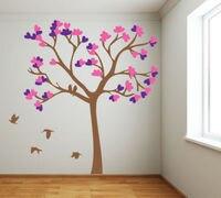 DIY tamanho grande verde árvore aves adesivos de parede de vinil para casa decoração da sala de estar quarto papel de parede murais family tree decalque em parede D813