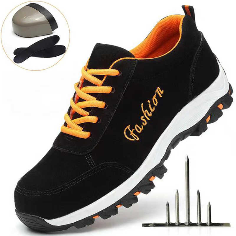 Mens รองเท้าทำงานเหล็กสำหรับการก่อสร้างโรงงานเคมีอุตสาหกรรมสตรีกีฬารองเท้าแฟชั่นเย็บปักถักร้อยสำหรับ 39