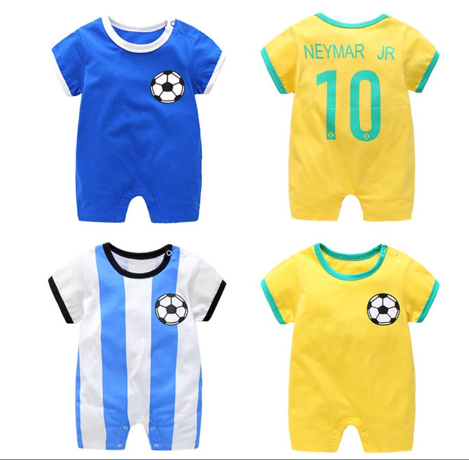 Football Summer   rompers   Short sleeve cotton fabric blue color infant baby sport jumpsuits one piece retail newborn baby overalls
