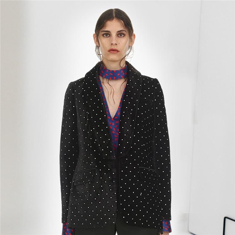 Designer Manteau Femelle La Diamant 2019 À Hauts Femmes Printemps Self Costume En Portrait Velours Mode Ol Noir Élégant SSXtq7